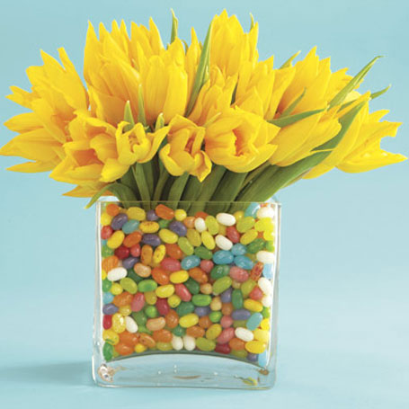 Spring Yellow Tulips in Jelly Belly's in Bellevue WA, CITY FLOWERS, INC.