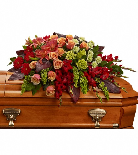 A Fond Farewell Casket Spray in Utica NY, Chester's Flower Shop And Greenhouses