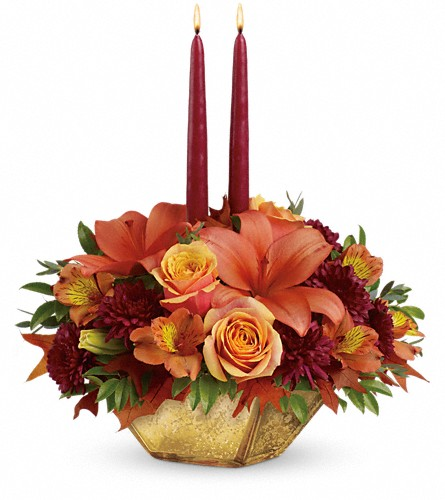 Teleflora's Harvest Gold Centerpiece in Houston TX, Village Greenery & Flowers