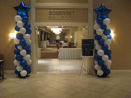 8' Spiral Balloon Column in Somerset NJ, Flower Station