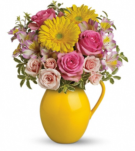 Teleflora's Sunny Day Pitcher Of Charm in Rochester NY, Red Rose Florist & Gift Shop