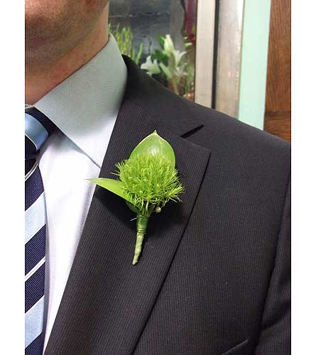 Tricky Green Boutonniere in West Los Angeles CA, Westwood Flower Garden