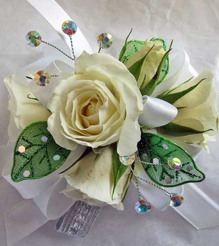 Leafy Green Rose Corsage in Amherst NY, The Trillium's Courtyard Florist