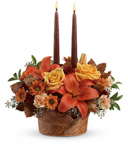 Teleflora's Wrapped In Autumn Centerpiece in Liberal KS, Flowers by Girlfriends