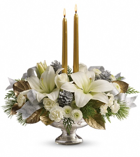 Teleflora's Silver And Gold Centerpiece in Terrace BC, Bea's Flowerland