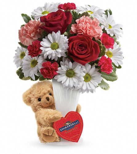 Teleflora's Send a Hug Bear Your Heart Bouquet in Gaylord MI, Flowers By Josie