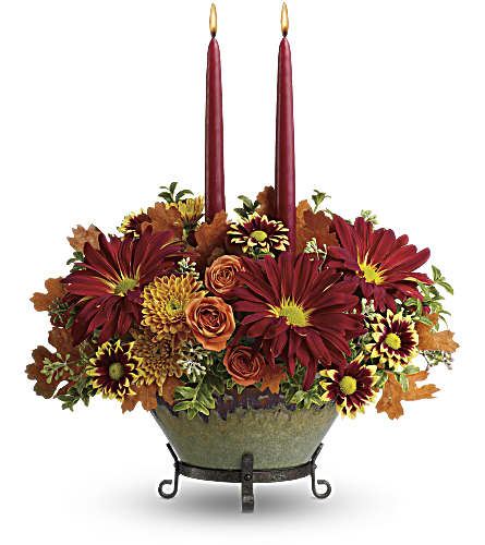 Teleflora's Tuscan Autumn Centerpiece in Royersford PA, Three Peas In A Pod Florist