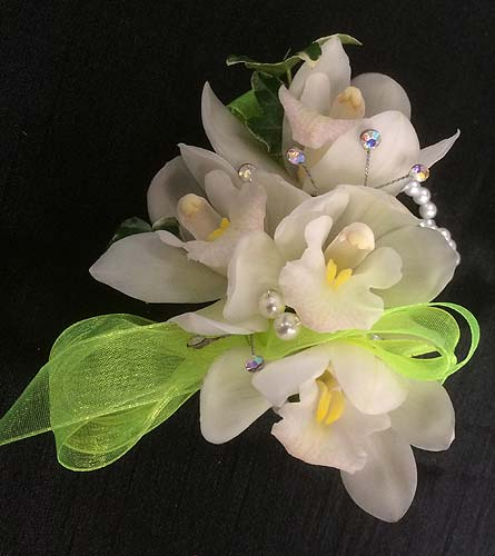 Mini Cymbidium Wrist Corsage in Belleville ON, Live, Love and Laugh Flowers, Antiques and Gifts