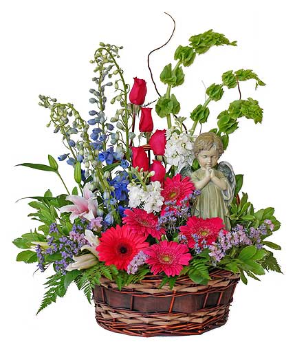 Serene Angel Flower Basket in Dallas TX, In Bloom Flowers, Gifts and More