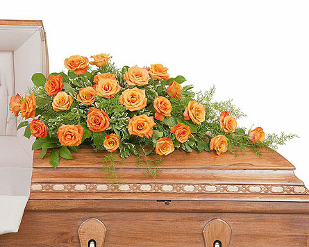 Orange Rose Casket Spray In Blue Springs Mo Village Gardens