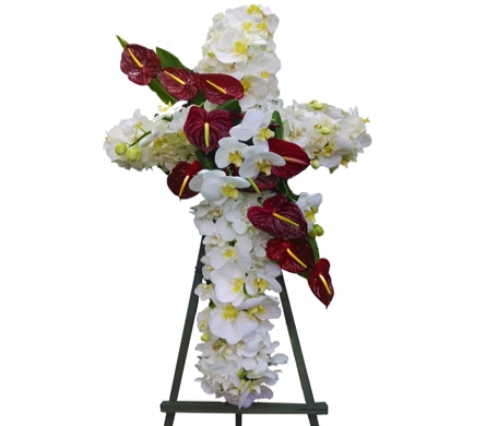 Elegant Orchid & Anthrium Cross in Santa Monica CA, Edelweiss Flower Boutique