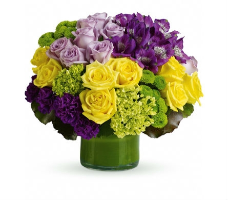 Simply Splendid Lavender & Yellow Roses in Santa Monica CA, Edelweiss Flower Boutique