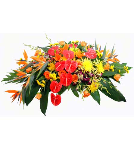 Tropical Paradise Deluxe Casket Spray in Chicagoland IL, Amling's Flowerland