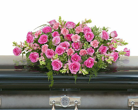 Peaceful Pink Casket Spray in Sylvania OH, Beautiful Blooms by Jen