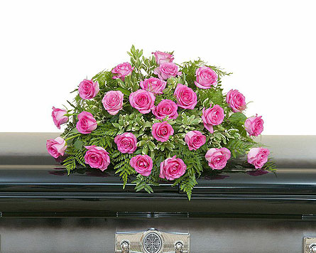 Pink Rose Casket Spray in Westminster CA, Dave's Flowers