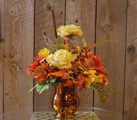 Round Fall Silk Arrangement in Utica NY, Chester's Flower Shop And Greenhouses