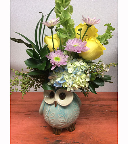 Touch of Spring Owl in Ammon ID, Petal Passion