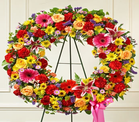 Wreath of Flowers for the Cemetery in Princeton, Plainsboro, & Trenton NJ, Monday Morning Flower and Balloon Co.