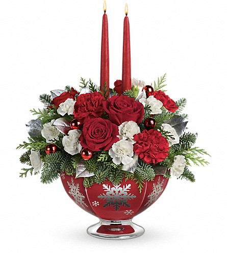 Teleflora's Silver And Joy Centerpiece in Poplar Bluff MO, Rob's Flowers & Gifts