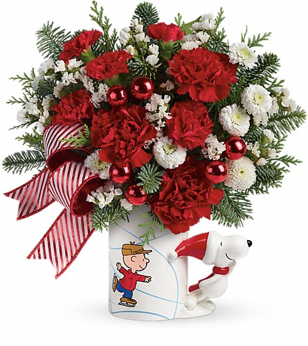 PEANUTS Christmas Mug by Teleflora in Naples FL, Gene's 5th Ave Florist
