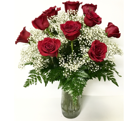 Dozen Long-Stem Red Roses with Baby's Breath in Wyoming MI, Wyoming Stuyvesant Floral