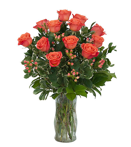 Orange Roses and Berries Vase in Redwood City CA, Redwood City Florist