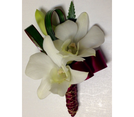 Orchids and Burgundy Boutonniere in Wyoming MI, Wyoming Stuyvesant Floral