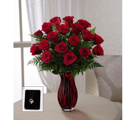 In Love with Red Roses Bouquet with Heart Pendant in Arizona, AZ, Fresh Bloomers Flowers & Gifts, Inc