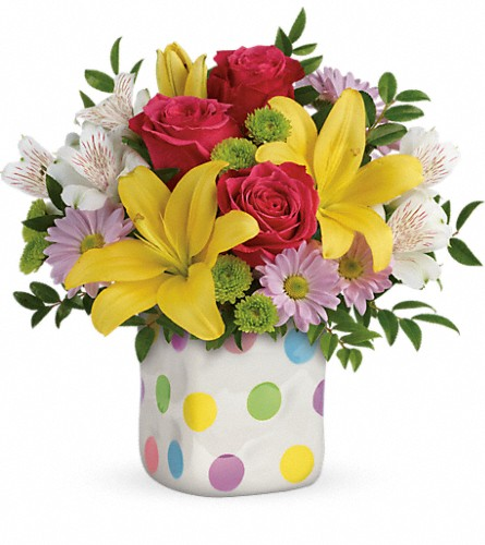 Teleflora's Delightful Dots Bouquet in Muskogee OK, Basket Case Flowers From the Pharm