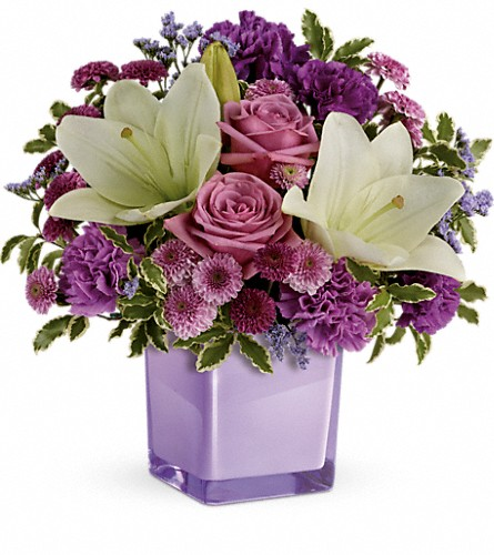 Teleflora's Pleasing Purple Bouquet in Edison NJ, Vaseful