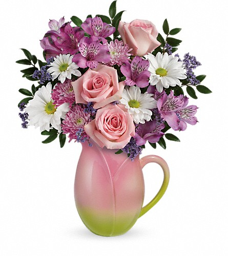 Teleflora's Spring Tulip Pitcher Bouquet in Arizona, AZ, Fresh Bloomers Flowers & Gifts, Inc