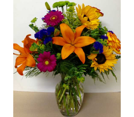 Rainbow Vase Arrangement - 8 inch rose vase in Wyoming MI, Wyoming Stuyvesant Floral