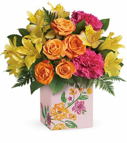 Teleflora's Painted Blossoms Bouquet in Canton NC, Polly's Florist & Gifts