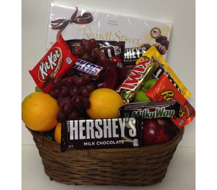 Traditional Fruit and Chocolate Treats Basket in Wyoming MI, Wyoming Stuyvesant Floral