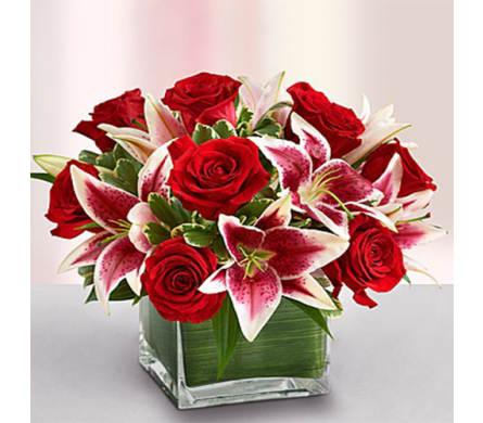 Red Rose and Lily Cube in Indianapolis IN, George Thomas Florist