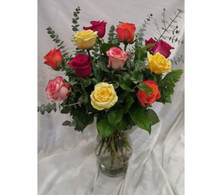 Vibrant Mixed Color Roses  in Princeton, Plainsboro, & Trenton NJ, Monday Morning Flower and Balloon Co.