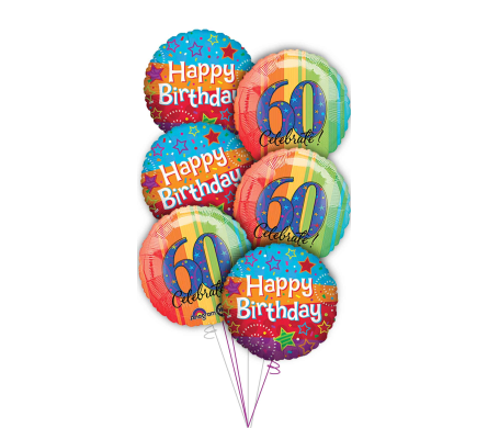 60th Birthday Balloon Bouquet in Princeton, Plainsboro, & Trenton NJ, Monday Morning Flower and Balloon Co.