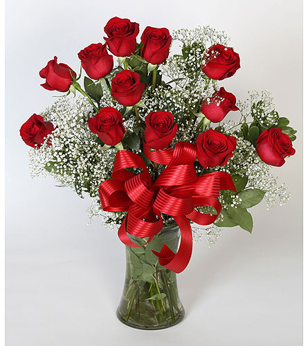1 DZ Red Roses Vased in Southampton PA, Domenic Graziano Flowers