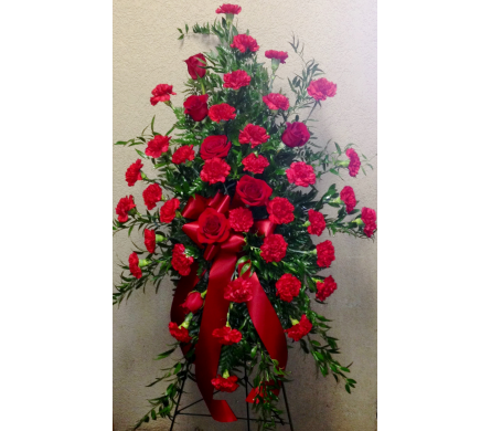 Red Carnations & Roses Easel Arrangement in Wyoming MI, Wyoming Stuyvesant Floral