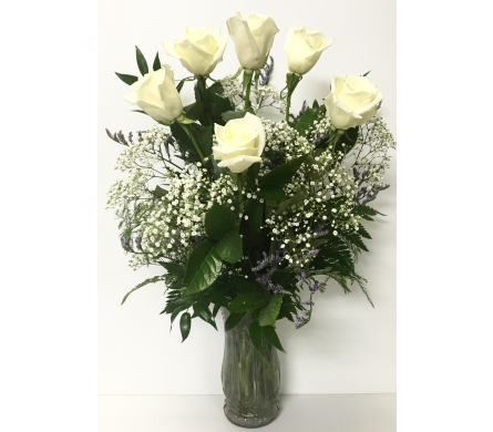 6 White Roses Arrangement in Wyoming MI, Wyoming Stuyvesant Floral