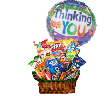 Junk Food Basket w/Thinking of You Balloon by 1-800-Balloons