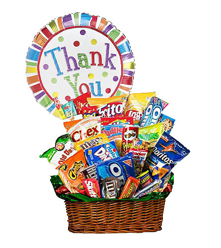 Junk Food Bucket w/Thank You Balloon! by 1-800-Balloons
