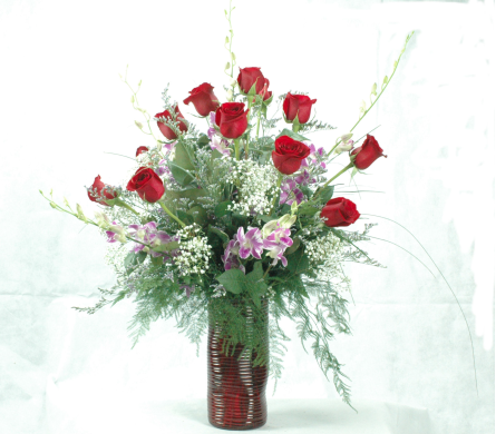 Valentine Beauty with Orchids and Lilies in Greenfield MA, Sigda Flowers and Gifts