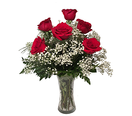 George's 1/2 Dozen Long Stemmed Red Roses Arrange in Madison WI, George's Flowers, Inc.