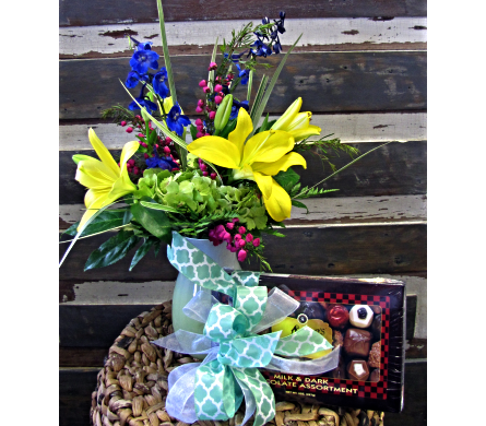 Ombre Jordan with Chocolates in Alamogordo NM, Alamogordo Flower Company
