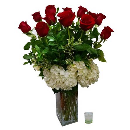Red roses with hydrangeas in Santa Monica CA, Edelweiss Flower Boutique