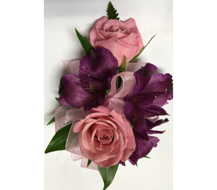 Antique Pink with Purple Wrist Corsage in Wyoming MI, Wyoming Stuyvesant Floral