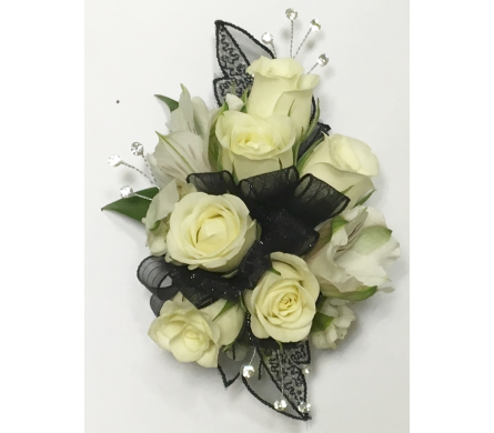 Luxury White Rose Wrist Corsage in Wyoming MI, Wyoming Stuyvesant Floral