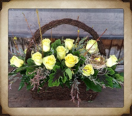 Basket of Roses in Yorba Linda CA, Garden Gate