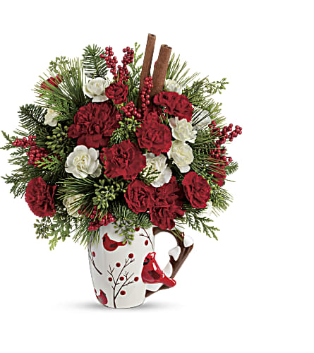 Send a Hug Christmas Cardinal by Teleflora in White Lake MI, Flowers of the Lakes, Inc.